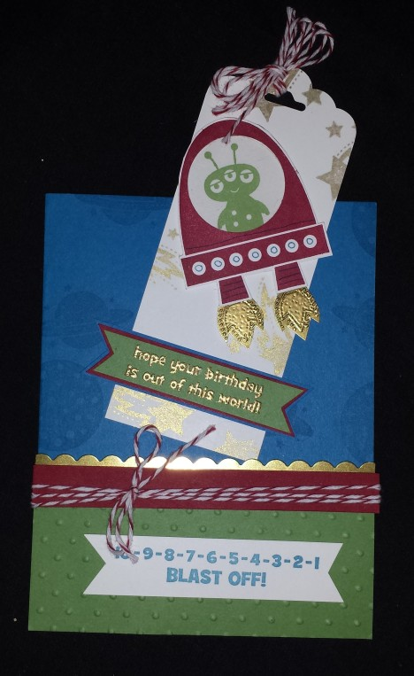 Blast off Birthday Card Bookmark