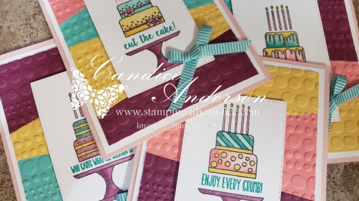 Sneak Peak of the Cards included in the Piece of Cake Stamp of the Month Kit.