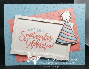 Card made using the Birthday Cheer set and the cute party hat.